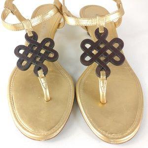 Diane Von Furstenberg Wedge Heeled Gold Sandals